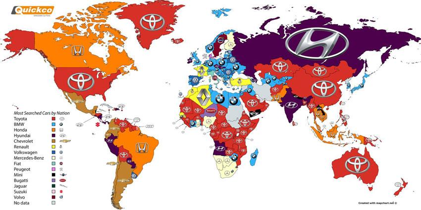 برترین برندهای خودرو در جستجوی اینترنتی +نقشه