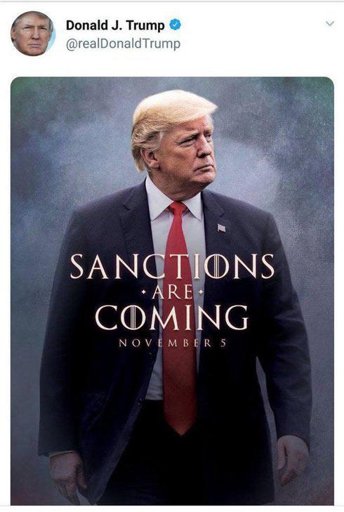 توئیت رئیس جمهور آمریکا بعد از اعلام تحریم های جدید ایران