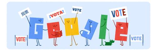 لوگوی گوگل در انتخابات آمریکا